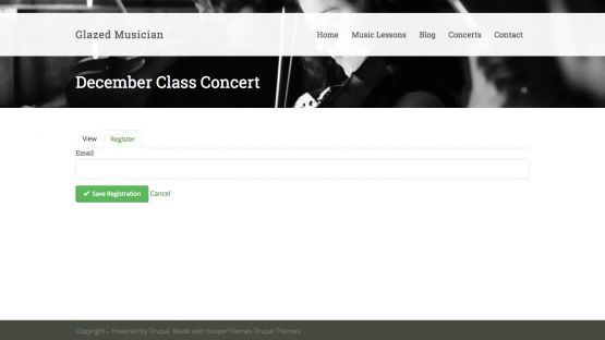 Musician Drupal Theme Homepage with Image