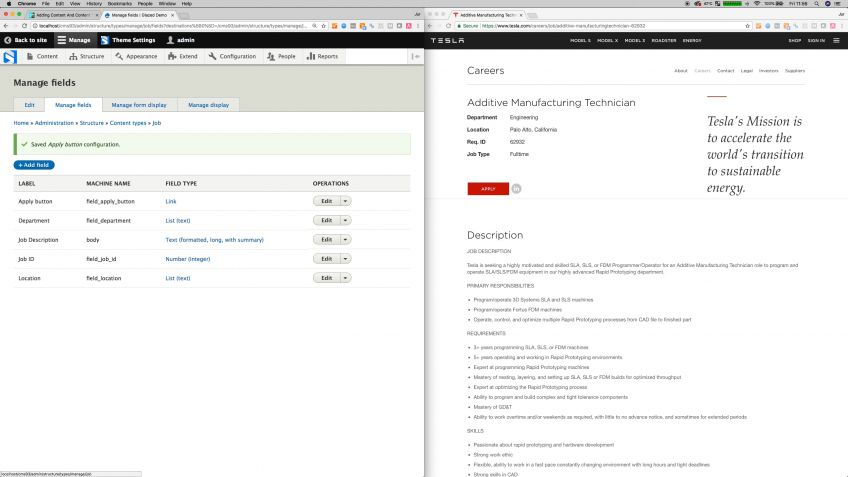 Drupal 8 Job Vacancy Content Type