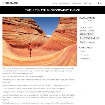 Photography Drupal Theme Blog Page