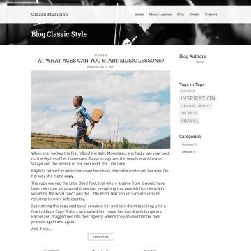 Musician Drupal Theme Homepage with Carousel