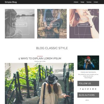 Simple Blog Drupal Theme Homepage with Carousel